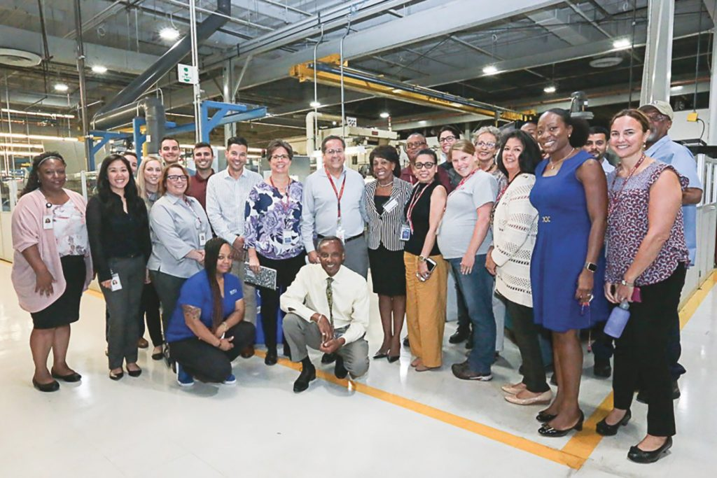 Congresswoman Waters Discusses Support for Local Businesses at Moog Aircraft Group Military Aircraft Support Center