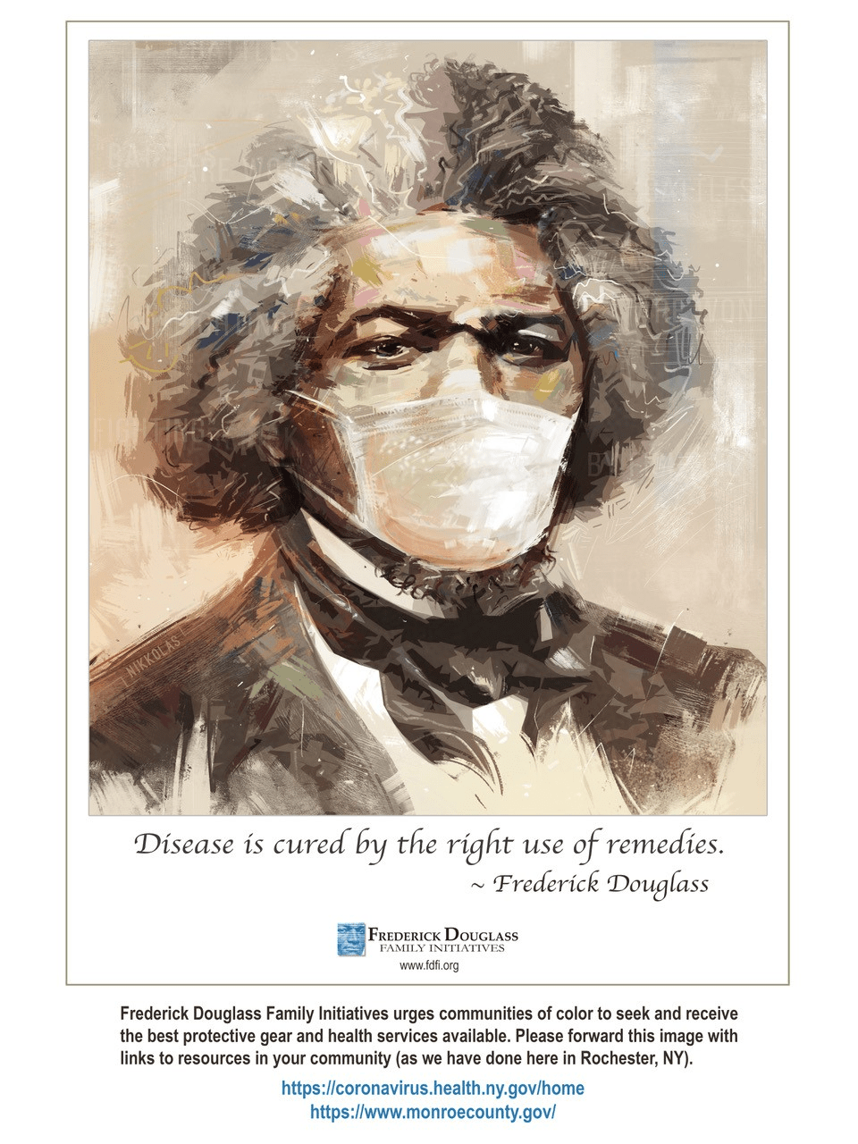 Artistic Likeness of Frederick Douglass Adds Ancestral Wit to COVID Awareness