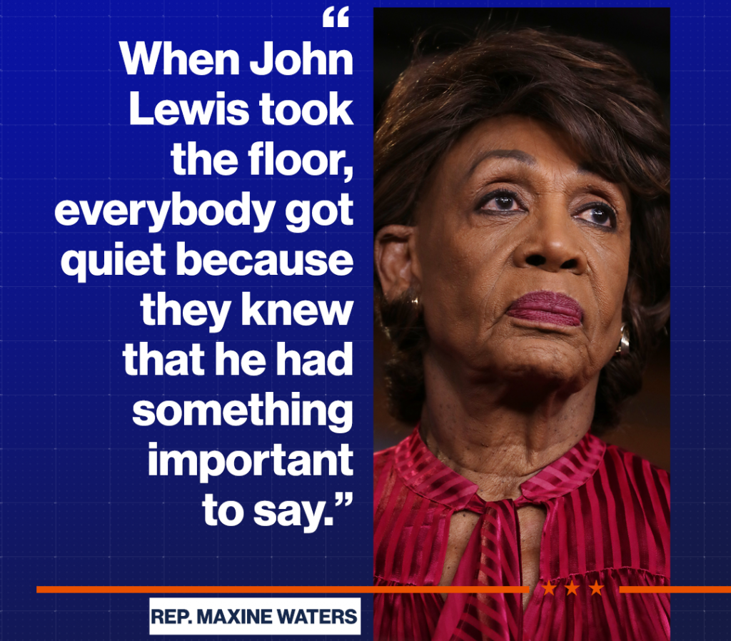 Rep. Maxine Waters Mourns the Death of Civil Rights Icon John Lewis