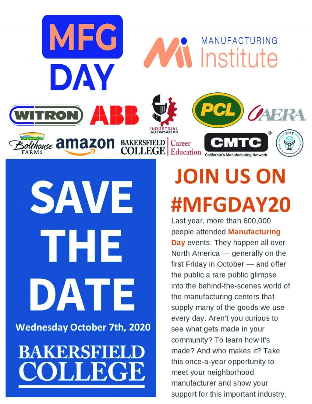 Bakersfield College Invites You to MFG Day 2020