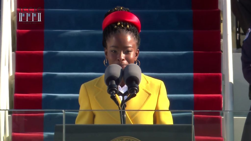 African American Poet Laureate Amanda Gorman Performs at Inauguration